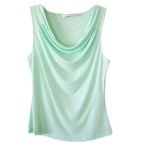 Calvin Klein Mint Cowl Neck Petite Sleeveless Top